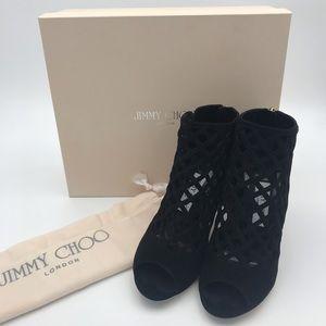 Jimmy Choo suede weave heels
